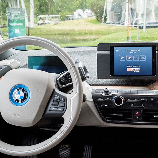 interior of a car with a payment terminal